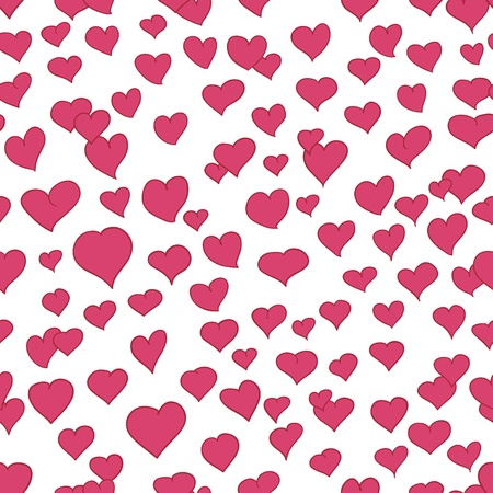 Pink and white seamless pattern with drawn hearts