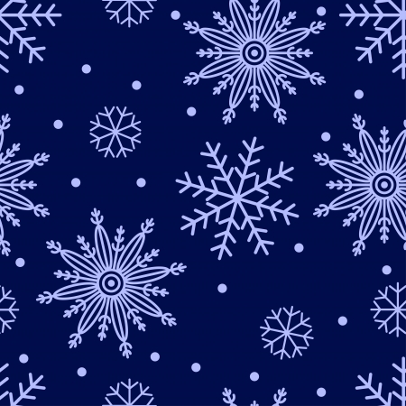 Seamless background with snowflakes on dark blue Vector