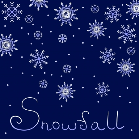 Background with snowflakes and sign snowfall on dark blue Vector