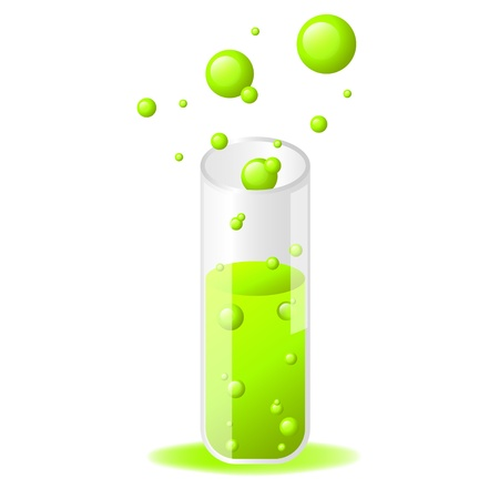 Green glossy test tube icon on white background Stock Vector - 16556364