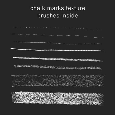 black and white line drawing: Vector set of chalk marks texture, brushes inside
