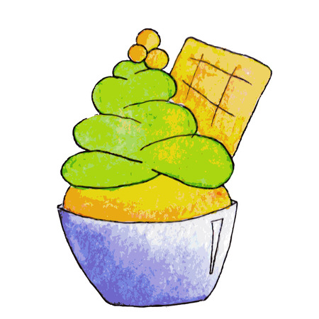 pistachio: Watercolor pistachio ice cream in cartoon style, vector