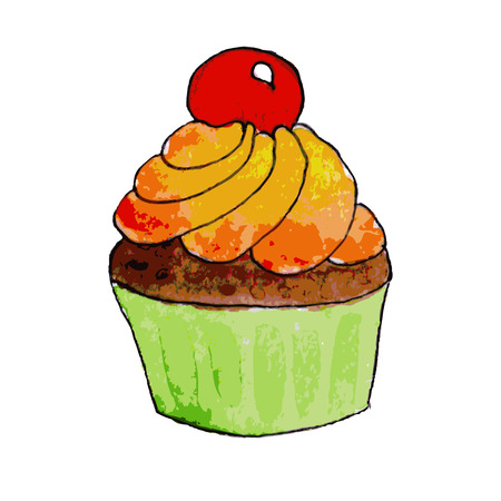 chocolate cupcake: Watercolor chocolate cupcake with orange cream and cherry, vector Illustration