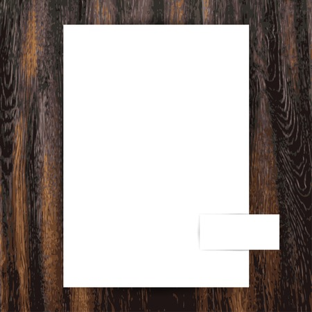 ten empty: Blank A4 sheet and business card template on wood texture, vector Illustration