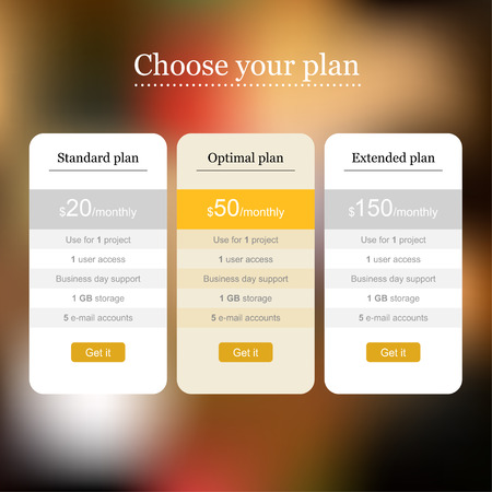 Web template of pricing table for landing page on blurred background Vector