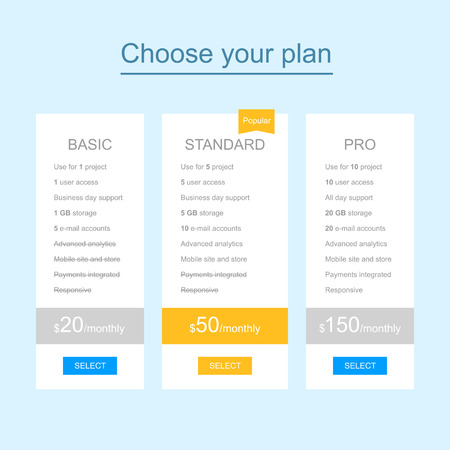 Web template of flat pricing table for landing page Vector