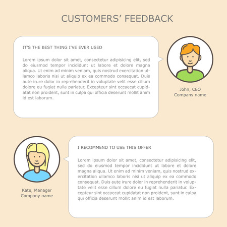 web site: Customers feedback web site template with linear icons