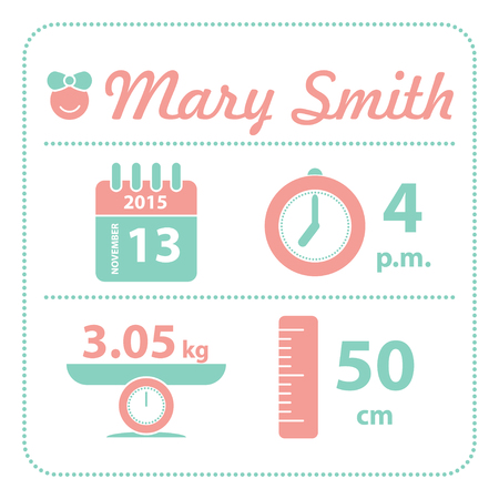 Baby girl announcement birth card, vector