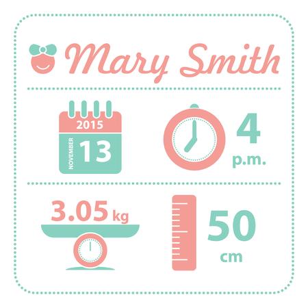 baby girl: Baby girl announcement birth card, vector