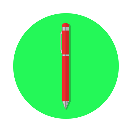 red ball: Flat red ball pen icon
