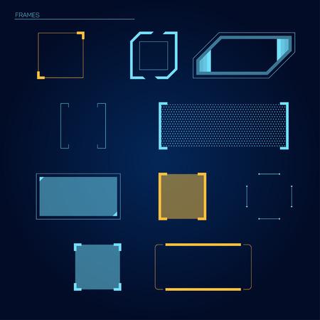 Marcos del vector elementos para HUD interfaz táctil futurista (head-up display)