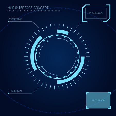 cabeza: HUD (head-up display) en concepto de interfaz de estilo futurista Vectores