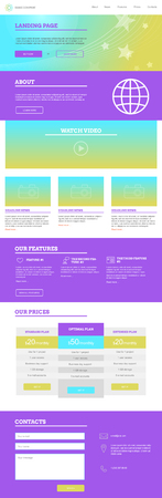 web site design template: Minimalistic style landing page template, web design for one page site, bright colors Illustration