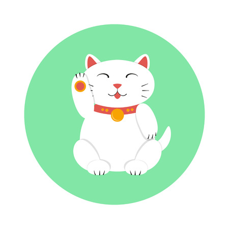 maneki: Japanese maneki neko (lucky cat) icon in minimalistic style