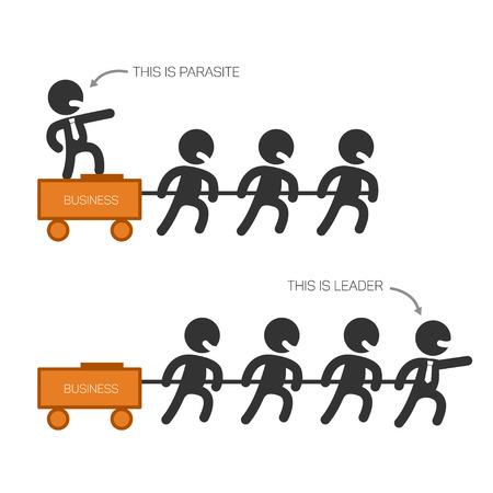 Boss vs leader, leadership concept, illustration about different strategies of management, cartoon style Vectores