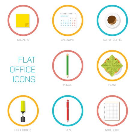 articulos de oficina: Conjunto de iconos de la oficina de estilo plana, art�culos de oficina en c�rculos con los accidentes cerebrovasculares, la ilustraci�n para el dise�o web o la infograf�a Vectores