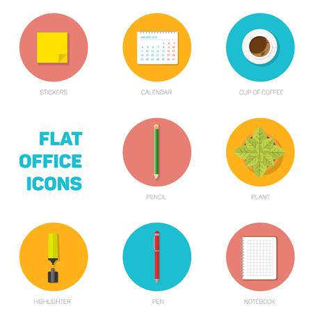 articulos de oficina: Conjunto de iconos de colores de la oficina del estilo plana, artículos de oficina en círculos sólidos, la ilustración para el diseño web o la infografía