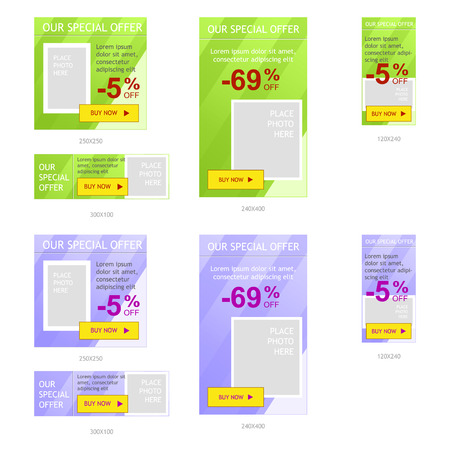 standard: Set of web banner ads, standard sizes for online advertisement, easy to change color of backdrop