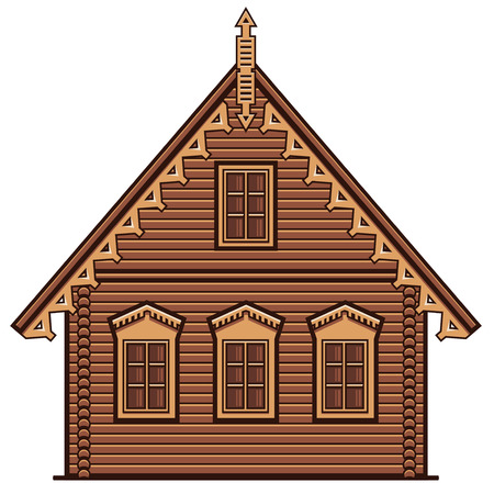 Flat style brown single-family house front view, russian wooden architecture, line art