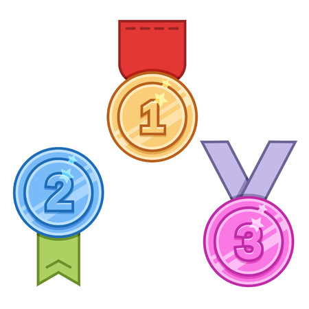 orden: Set of medals in outline style