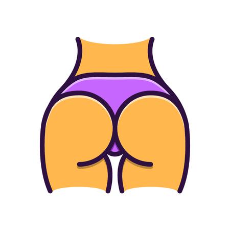 皮ひもの図、平らな回線様式に女性のお尻