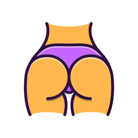 Womans buttocks in thongs illustration, flat line style