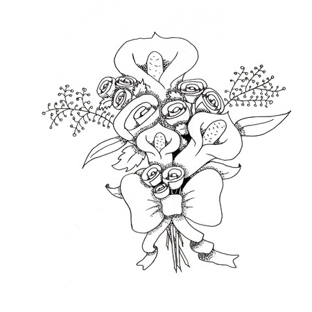lineart: Bouquet of callas with bow lineart black and white illustration