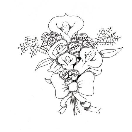 calas blancas: Ramo de calas con arco dibujos ilustración en blanco y negro Foto de archivo