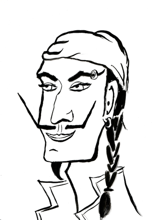 male face: Black and white Pirate head line art, man with pigtail, mustache and headscarf Stock Photo