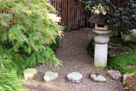 contemplation: japanese garden with sand for contemplation Stock Photo