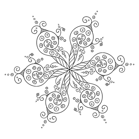 whorls: Hand drawn Vector abstract floral ornament, kaleidoscopic lineart floral pattern. Circle background with many details and whorls