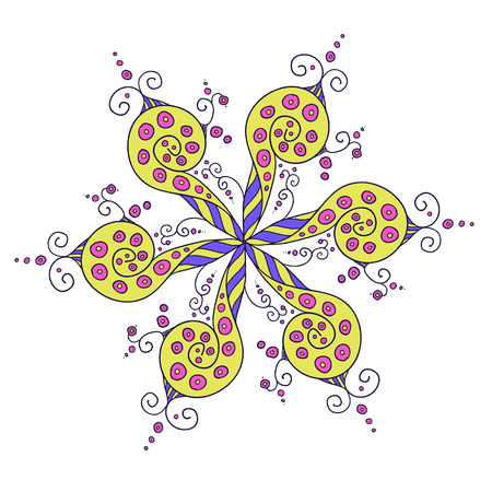 whorls: Hand drawn Vector abstract floral ornament, kaleidoscopic lineart yellow floral pattern. Circle background with many details and whorls Illustration