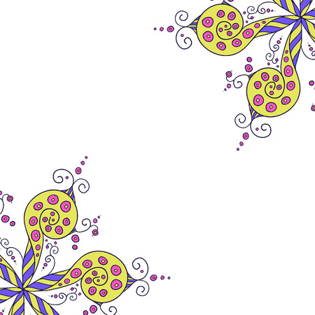 whorls: Hand drawn Vector abstract floral ornament, lineart yellow floral pattern whorls