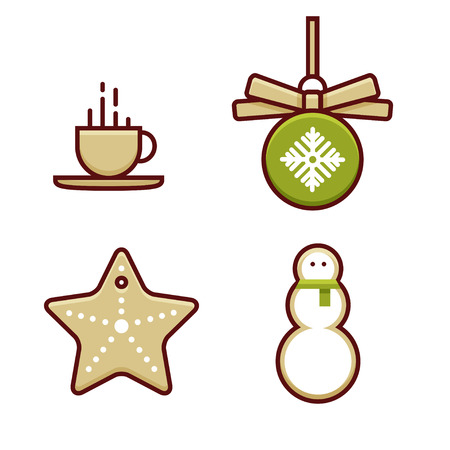 Set of color christmas icons, line art style