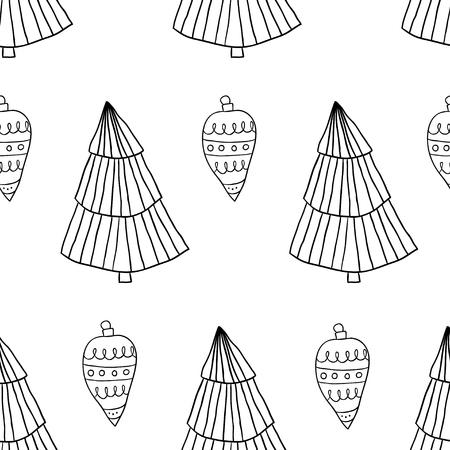 Modèle sans couture de doodle de style scandinave de Noël