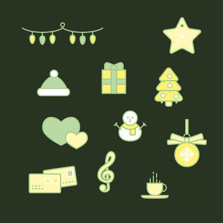 Reeks groene Kerstmispictogrammen van de lijn, minimale stijl