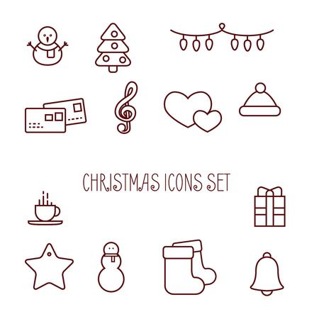 lijn Kerst iconen, minimale stijl op witte achtergrond