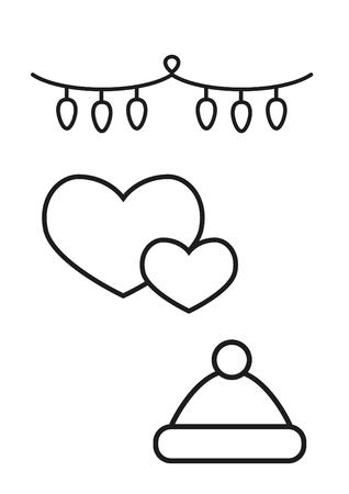 Elementos De Navidad, Libro Para Colorear Para Niños. Ilustraciones ...