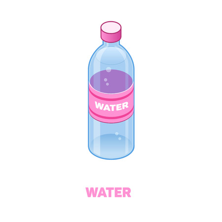 Bottle of water color isometric style icon with outline. Food concept illustration Stok Fotoğraf - 95602649