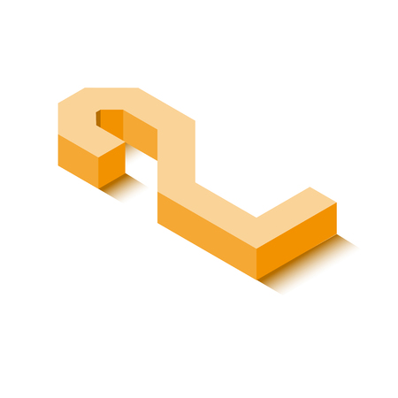 Isometric two orange icon, 3d character with shadow, vector eps10