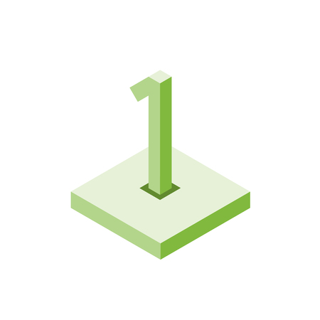 Isometric green one icon on square, 3d character, vector.