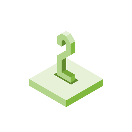 Isometric green two icon on square, 3d character, vector.