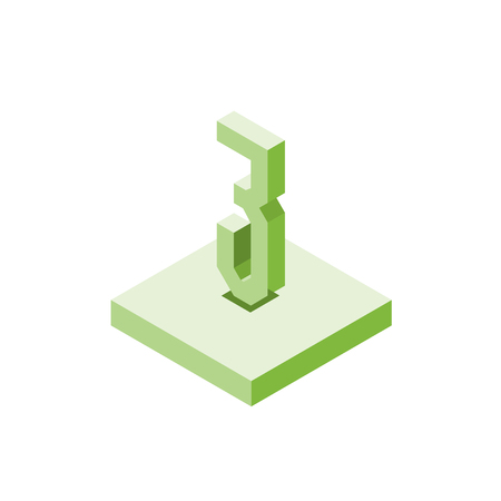 Isometric green three icon on square, 3d character, vector.