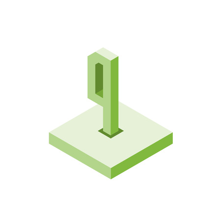 Isometric green four icon on square, 3d character, vector. Ilustrace