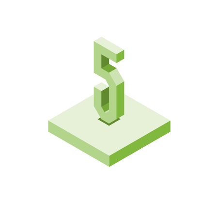 Isometric green five icon on square, 3d character, vector.