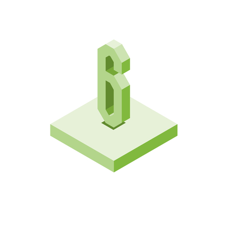 Isometric green six icon on square, 3d character, vector. Ilustrace