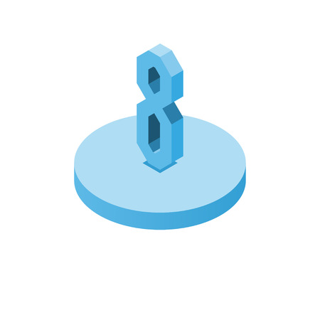 Isometric blue eight icon on disk, 3d character, vector eps10