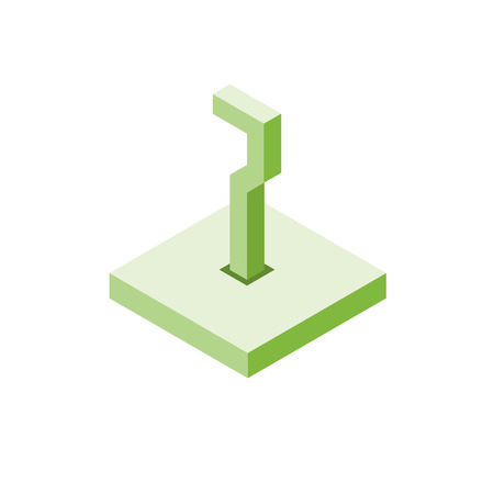 Isometric green seven icon on square, 3d character, vector eps10