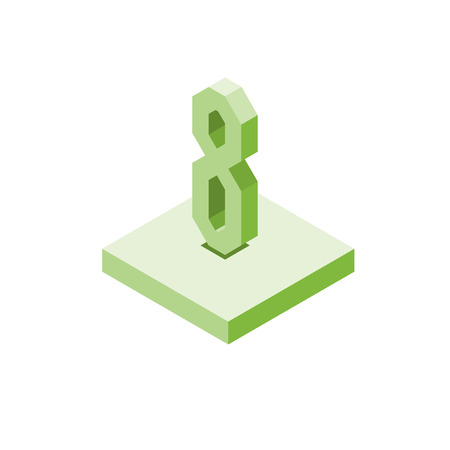 Isometric green eight icon on square, 3d character, vector eps10