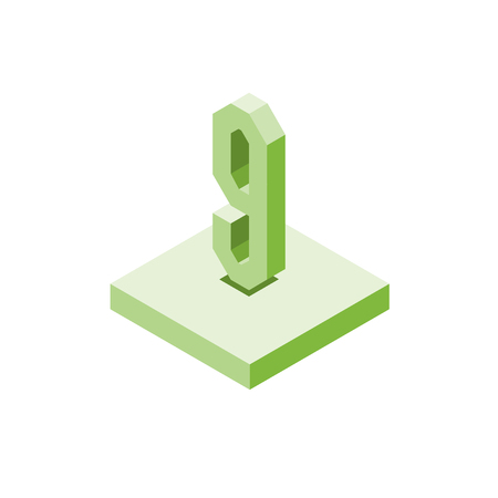 Isometric green nine icon on square, 3d character, vector eps10